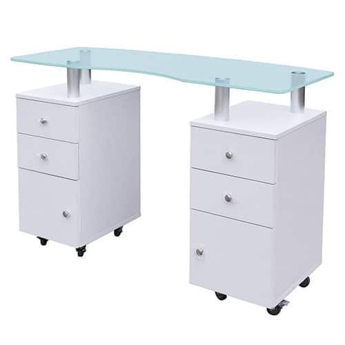 שולחן זכוכית לבן מפואר עם הגבהה