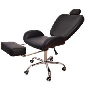 כיסא שחור לעיצוב גבות ואיפור אלגנט + דום